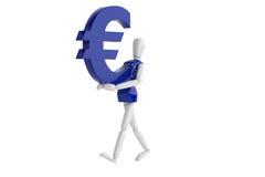 Eurovalutavit man Royaltyfria Bilder