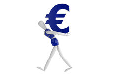 Eurovalutavit man Royaltyfri Foto