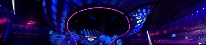 Eurovisie in de Oekraïne, Kyiv 05 13 2017 Panorama van de zaal bij Royalty-vrije Stock Fotografie