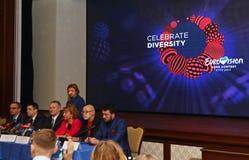 2017 Eurovisie-de persbriefing van de Liedwedstrijd in Kyiv Stock Foto