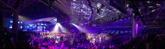 The Eurovision final day. Ukraine, Kyiv. 05.13.2017. Editorial. Panorama of the stage and the hall of Eurovision Royalty Free Stock Photography