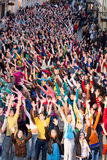 Eurovision flash mob dance moments. Big crowed dancing 2010 Eurovision flash mob dance in Vilnius oldtown stock photos