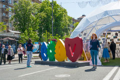 Eurovision by historiskt kyivmuseum utomhus- ukraine för arkitektur 05 05 2017 ledare folk Arkivfoton
