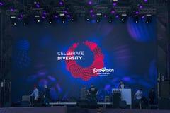 Eurovision by historiskt kyivmuseum utomhus- ukraine för arkitektur 05 05 2017 ledare Musen Royaltyfri Fotografi