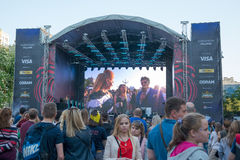Eurovision by i Kyiven i Ukraina 07 05 2017 Editoria Arkivfoto
