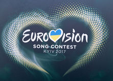 Eurovision Song Contest 2017 logo closeup outdoor in Kyiv, Ukraine.