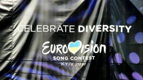 Eurovision song contest logo in Kiev, Ukraine, stock video