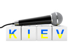 2017 Eurovision Song Contest. Microphone over Kiev Cube Sign. 3d. 2017 Eurovision Song Contest. Microphone over Kiev Cube Sign on a white background. 3d Royalty Free Stock Photo