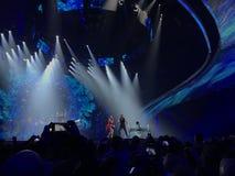 Eurovision in Ukraine, Kyiv. 05.13.2017. Editorial. The Eurovision final day. Ilinca ft. Alex Florea from Romania. Spectators stock photos