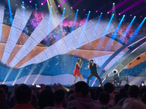 Eurovision in Ukraine, Kyiv. 05.13.2017. Editorial. The Eurovision final day. Ilinca ft. Alex Florea from Romania. Spectators stock image