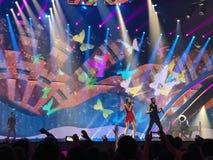 Eurovision in Ukraine, Kyiv. 05.13.2017. Editorial. The Eurovision final day. Ilinca ft. Alex Florea from Romania. Spectators stock images