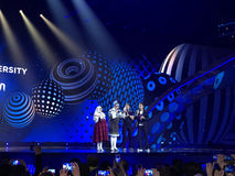 Eurovision in Ukraine, Kyiv. 05.13.2017. Editorial. Verka Serduchka opens the phone lines - grand final. Spectators under the sta royalty free stock images