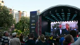Eurovision Village in the Kyiv in Ukraine. 07.05.2017. Editorial. opening of the Eurovision stock video
