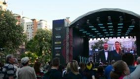 Eurovisions-Dorf im Kyiv in Ukraine 07 05 2017 redaktionell Eröffnung der Eurovision stock video