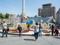 Eurovisions-Dorf Ukraine, Kyiv 05 05 2017 redaktionell Leute Stockbild