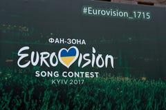 Eurovisions-Dorf Ukraine, Kyiv 05 12 2017 redaktionell vorstand Lizenzfreies Stockfoto