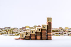 Eurowährung prägt die Formung einer Skala mit den hölzernen Würfeln, die das Worteinkommen abschließen Lizenzfreies Stockfoto