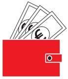 Eurowährungsikone oder -logo auf Anmerkungen, knallend aus einer Geldbörse heraus Lizenzfreie Stockfotografie