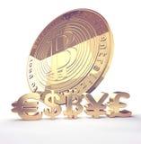 Eurowiedergabe Symbols 3d dollar Bitcoin Yen Pound Lizenzfreies Stockbild