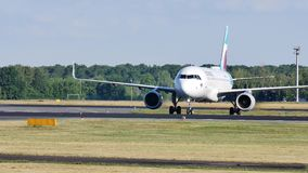Eurowings Airbus landing on Schiphol Amsterdam Airport, AMS. Netherlands stock footage