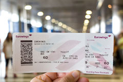 Eurowings boarding pass. Thessaloniki , Greece - July 16, 2017: Eurowings boarding pass for the route Thessaloniki - Munich at the boarding gates of the Royalty Free Stock Photography