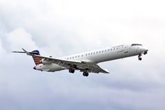 Eurowings Bombardier CRJ-900 NG. BERLIN, GERMANY - AUGUST 17, 2014: Eurowings Bombardier CRJ-900 NG arrives to the Tegel International Airport stock photography
