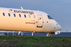 Eurowings CRJ900 regional stråle Fotografering för Bildbyråer