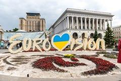 Eurowizyjny 2017 Oficjalny logo Eurowizyjnej piosenki konkurs 2017 lokalizować na majdanie Nezalezhnosti Fotografia Royalty Free