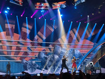 Eurowizyjny w Ukraina, Kyiv 05 13 2017 editorial Eurowizyjny definitywny dzień Ilinca ft Alex Florea od Rumunia Obraz Royalty Free