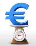 Eurozeichen auf Skalawanne Stockfotos