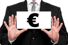 Eurozeichen. Geschäftsmann zeigt Visitenkarte Stockfotografie