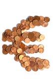 Eurozeichen von Euromünzen Lizenzfreie Stockbilder