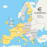 Eurozone Countries Map Royalty Free Stock Image