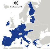 Eurozone Countries Outline Stock Photography