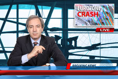 Eurozone Crash concept. Anchorman with news flash on Eurozone crash stock photography