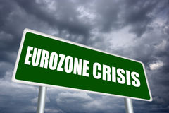 Eurozone crisis sign. Eurozone crisis road sign illustration Stock Image