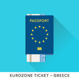 Eurozone Europe Passport with tickets  illustration. Air T Royalty Free Stock Photography