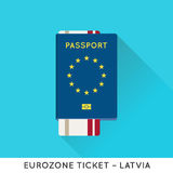 Eurozone Europe Passport with tickets vector illustration. Air T Royalty Free Stock Photo