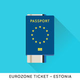 Eurozone Europe Passport with tickets vector illustration. Air T Stock Image