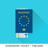 Eurozone Europe Passport with tickets vector illustration. Air T Royalty Free Stock Photos
