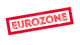 Eurozone rubber stamp. On white. Print, impress overprint Royalty Free Stock Photo