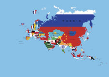 Europe Asia Flags Background Map And State Names. Europe Asia Continent Flags Background Map Including States Names royalty free stock image