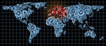 Eurpean Economy. European economy business concept with a world map made of gears and cogs with Europe highlighted in red as an idea of economic growth and Royalty Free Stock Photo