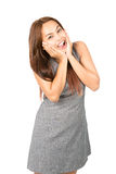 Eurphoric Asian Woman Reacting Happy News Half Royalty Free Stock Images