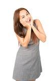 Eurphoric Azjatyckiej kobiety wiadomości Reagująca Szczęśliwa połówka obrazy royalty free