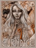 Eurydice. Watercolor painting of characters from Greek mythology. Orpheus standing bee Euridice with her finger on her silent lips. Hand drawn illustration Royalty Free Stock Photo