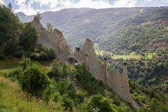 Euseigne-pyramides in der Schweiz in den Alpen Stockfotografie