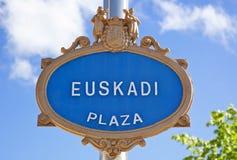 Euskadi Plaza. Plate at Bilbao Royalty Free Stock Photo