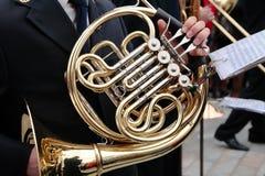 Eustachian tube. Details of musician playing the eustachian tube and your score Stock Photos