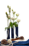Eustoma flowers with shells isolated Stock Photo